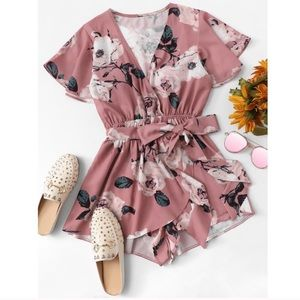 Other - Pink Floral Print Romper